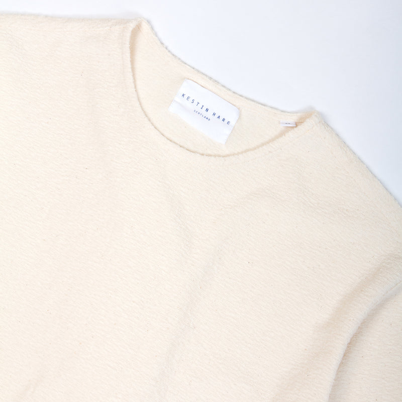Kestin Hare Spey Tee Off White Textured Jersey collar detail