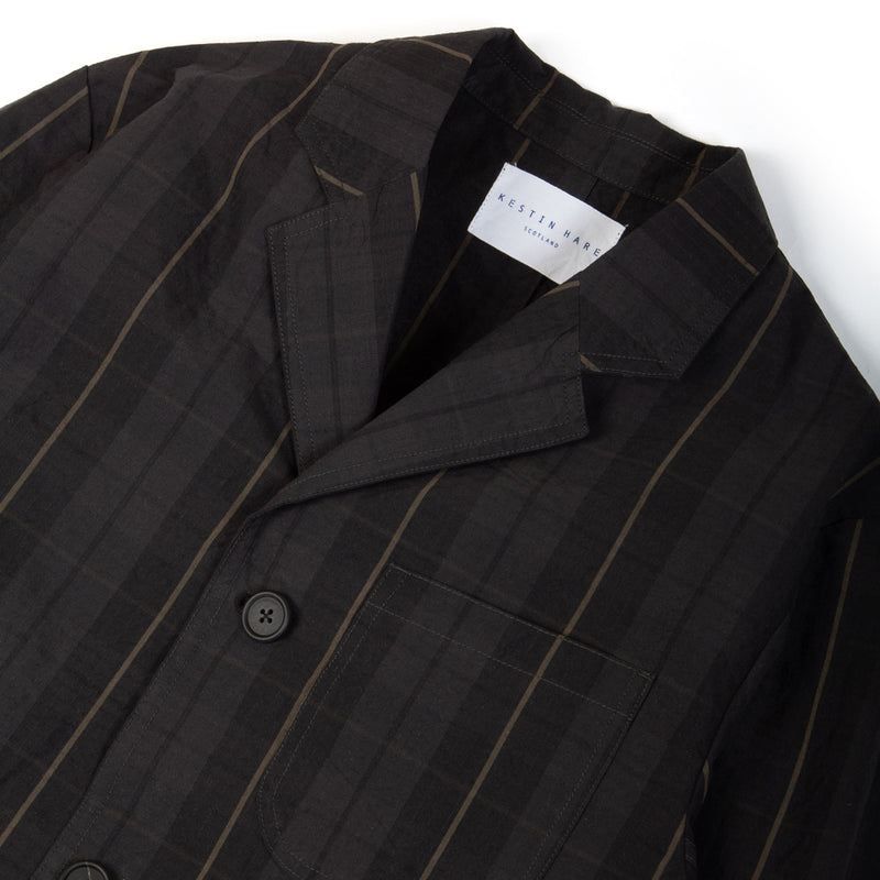 Kestin Hare Stac Blazer Black Watch Stripe Cotton Ripstop collar detail