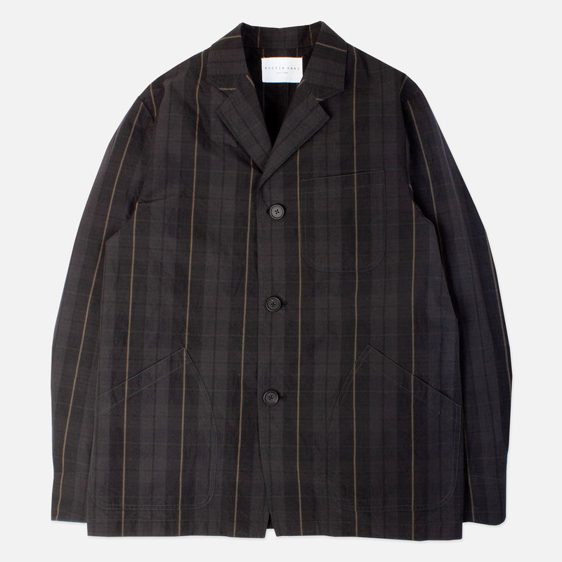 Kestin Hare Stac Blazer Black Watch Stripe Cotton Ripstop