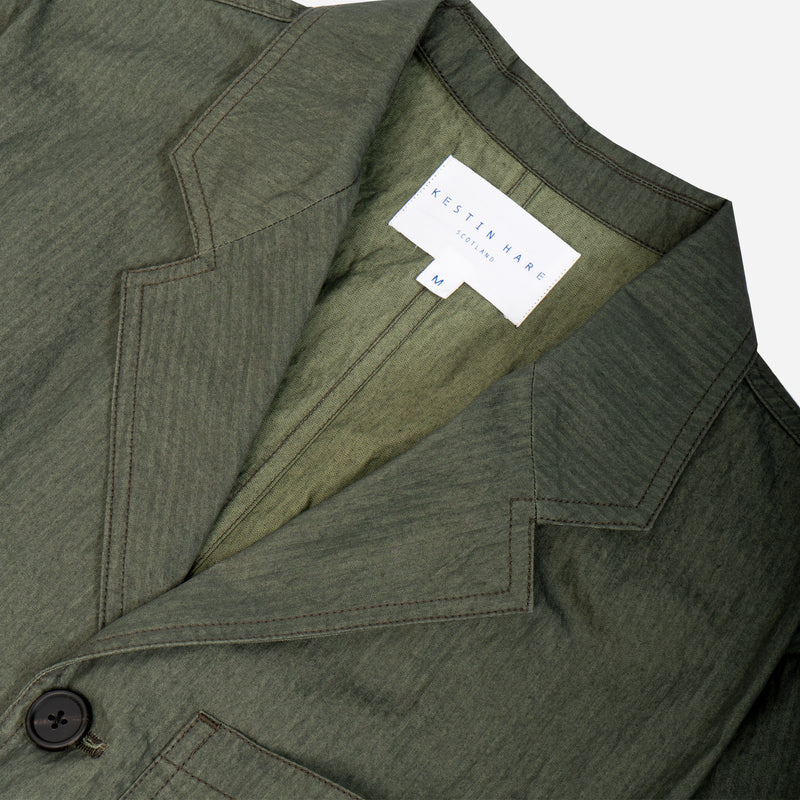 Stac Blazer In Olive Mini Herringbone