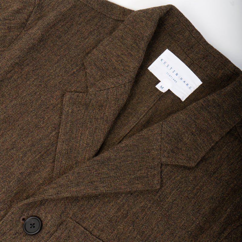 Stac Blazer In Peat flecked Wool/Cotton Blend