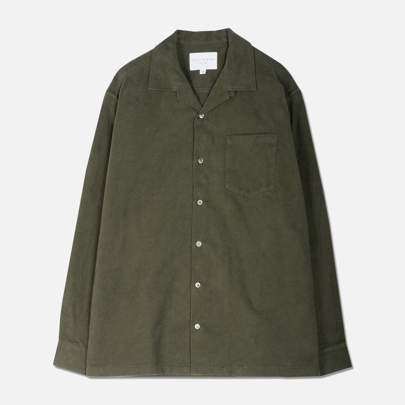 Tain Shirt In Olive Brushed Cotton
