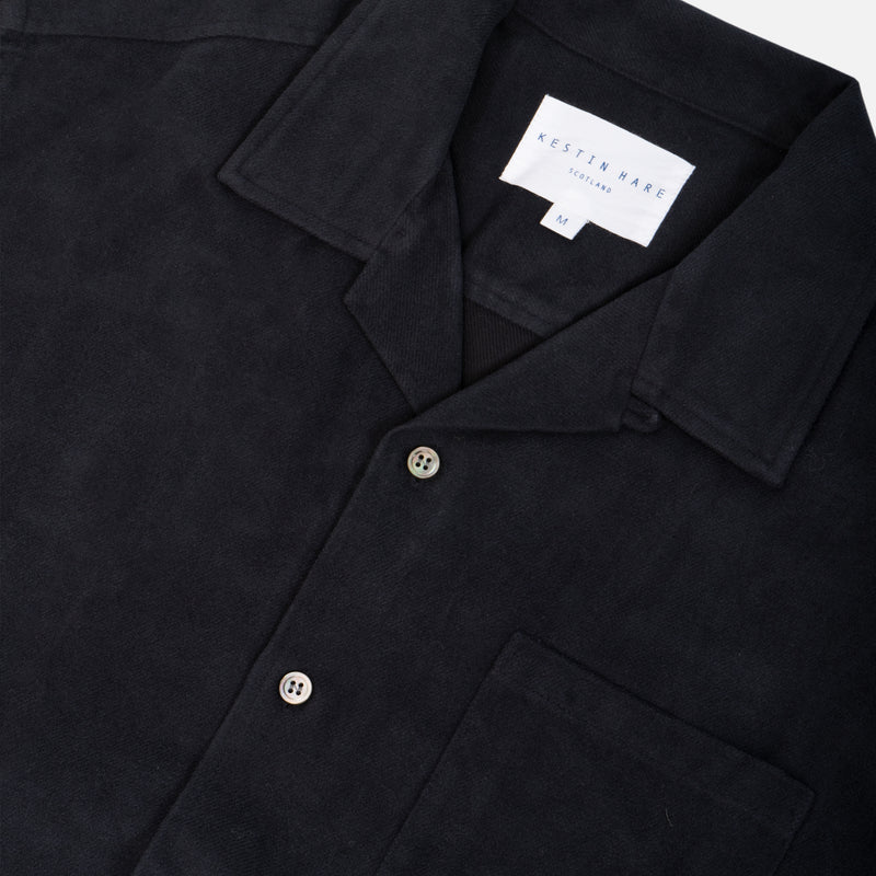 Tain Shirt In Navy Brushed Cotton