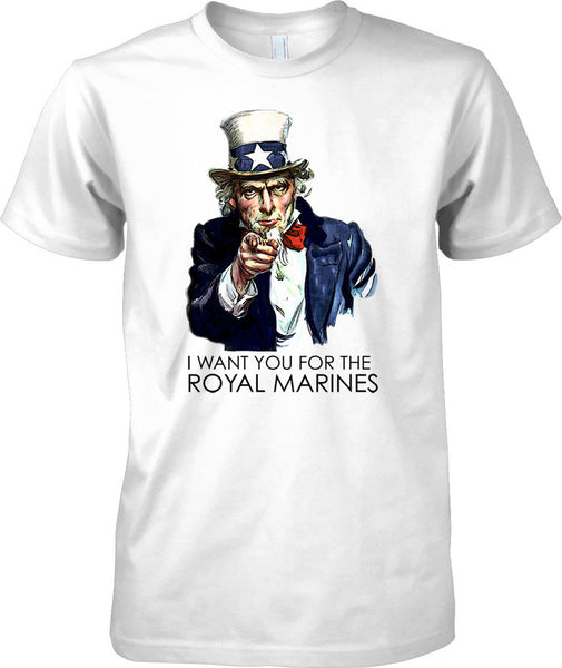 I Want You For The Royal Marines - Cool Recruitment Poster - Mens T Shirt