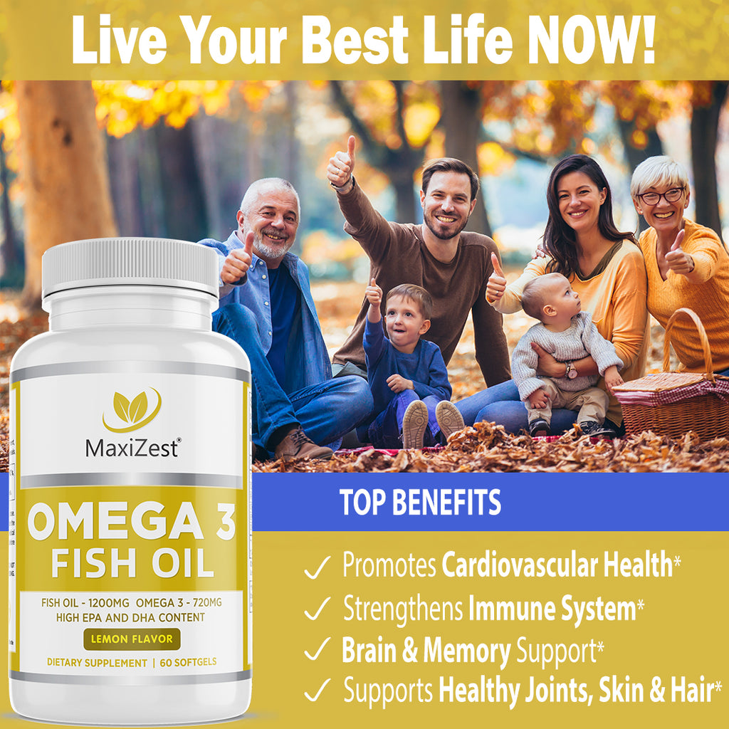 Omega 3 Fish Oil - Brain and Heart Support Formula (Lemon Flavor)