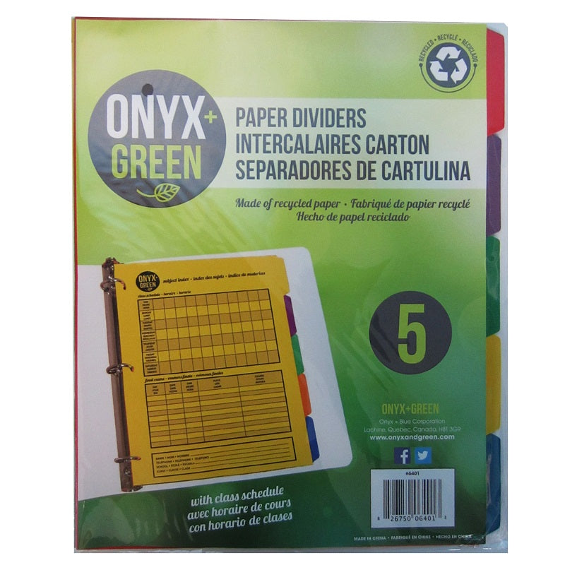 5PK Paper Dividers with Tabs