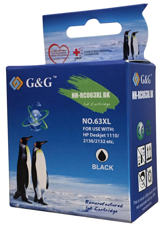 G&G NH-RC063XL Black Ink Cartridge for Use With HP Printer