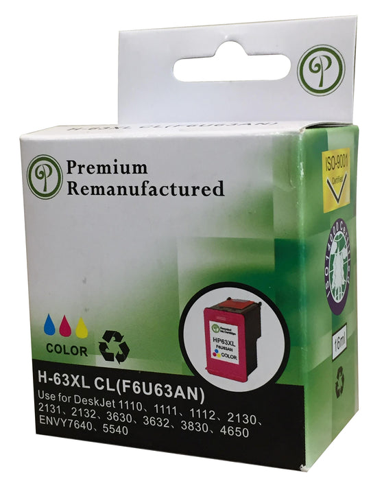 Premium Remanufactured H-63XL Tri-Color Ink Cartridge for HP Printer