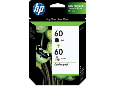 HP 60 Black/Tri-Color Ink Combo Pack