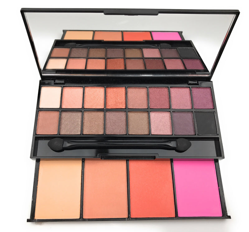 Smokey Nude Eyeshadow Makeup Palette with Blush and Powder - Mynena