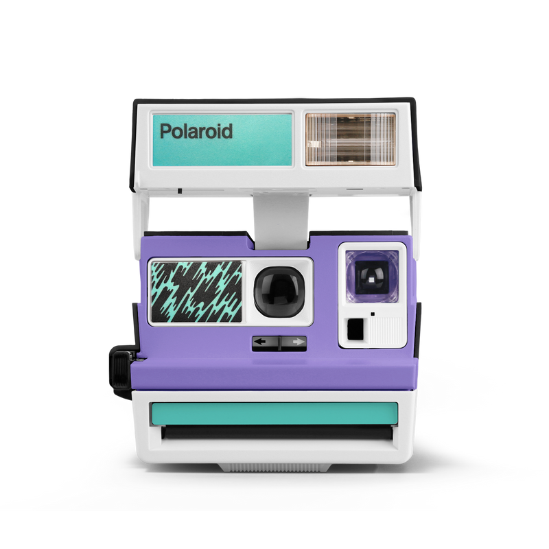 Pop Deco Purple Green White Polaroid Camera Front view