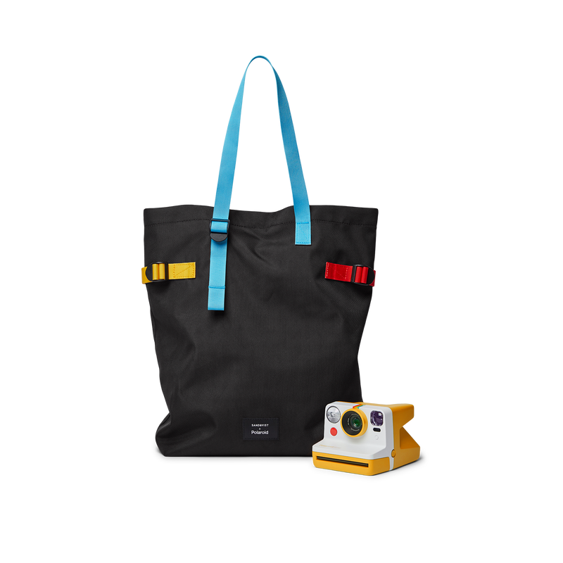 Sandqvist x Polaroid Collaboration – Stockholm Tote Bag front with camera