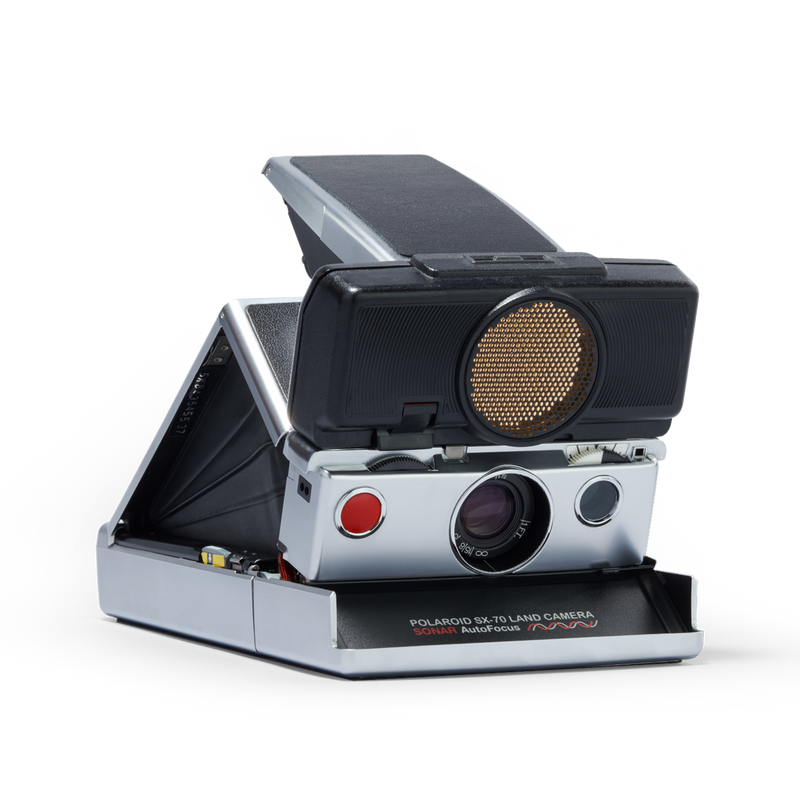 Silver and Black Polaroid SX-70 Autofocus Instant Camera Angle right view