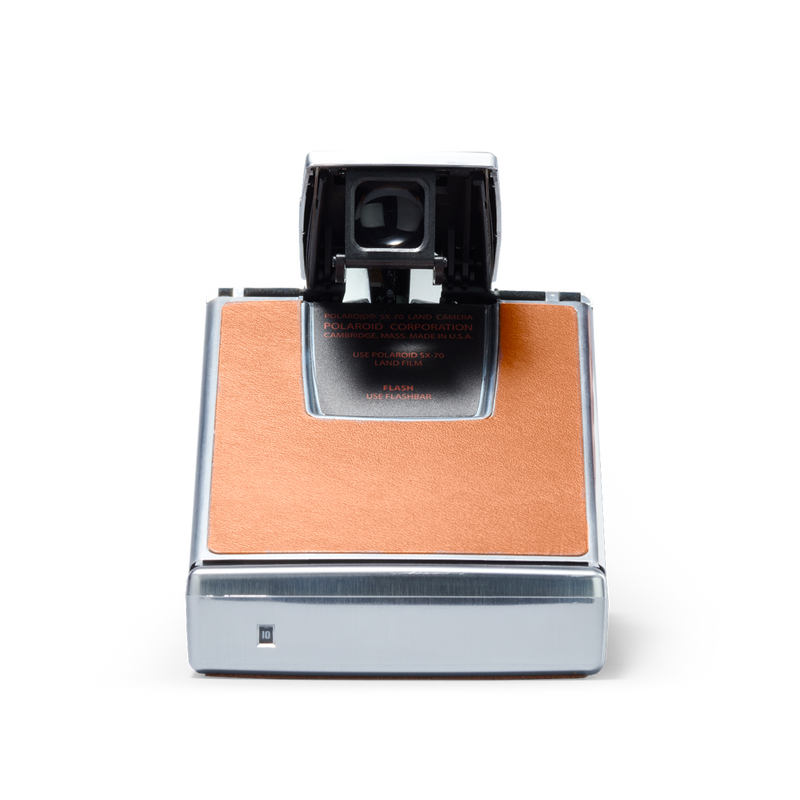Silver and brown Polaroid SX-70 Instant Camera Back view