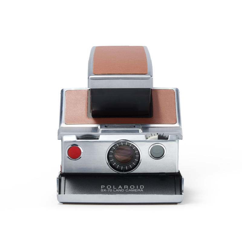 Silver and brown Polaroid SX-70 Instant Camera Front view