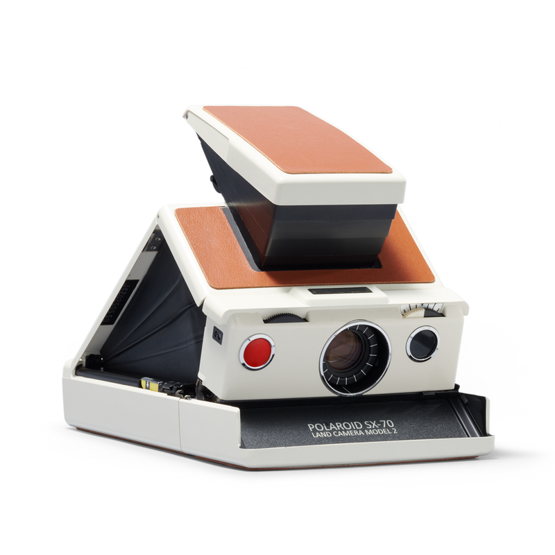 White and brown Polaroid SX-70 Instant Camera Angle right view