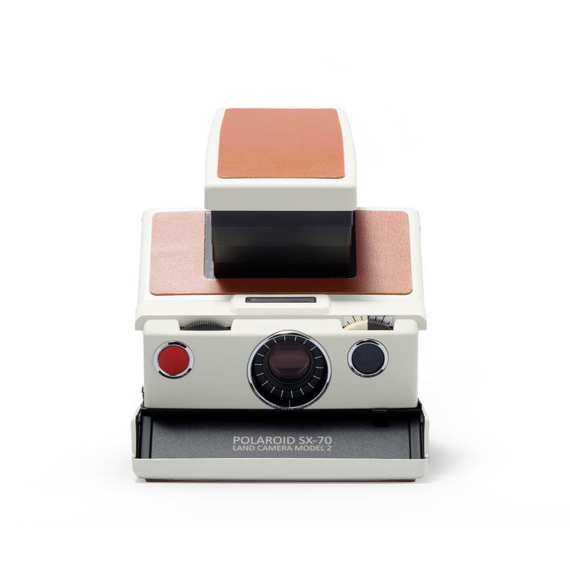 White and brown Polaroid SX-70 Instant Camera Front view