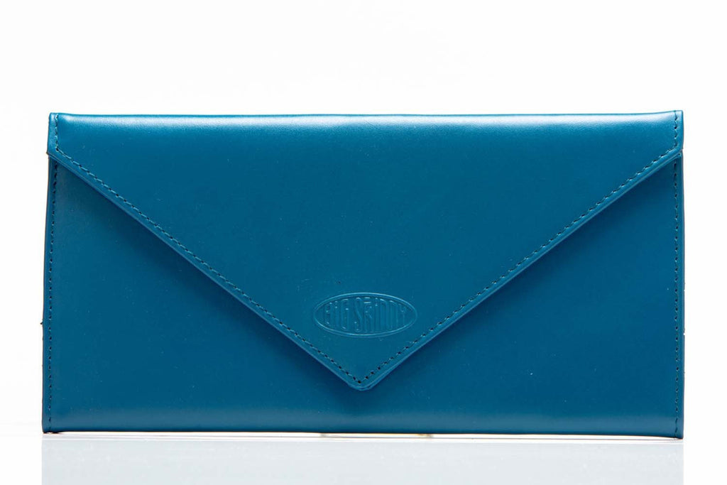 Leather Slimvelope Ocean Blue