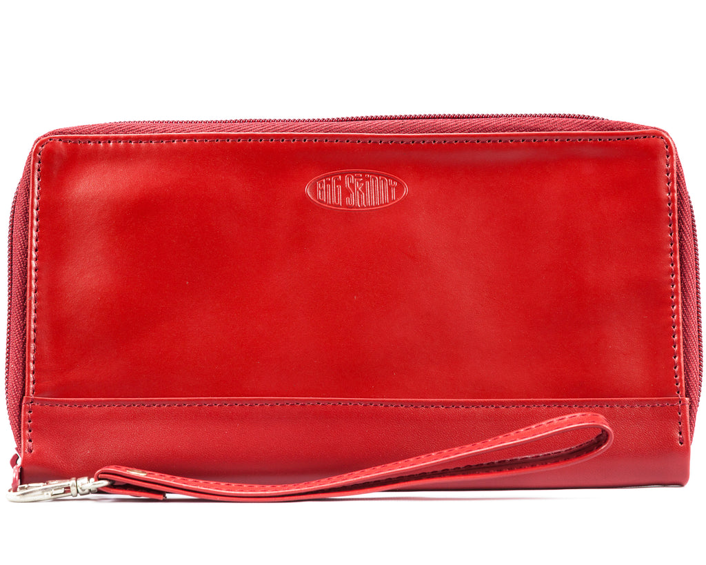 Leather Panther Clutch Red