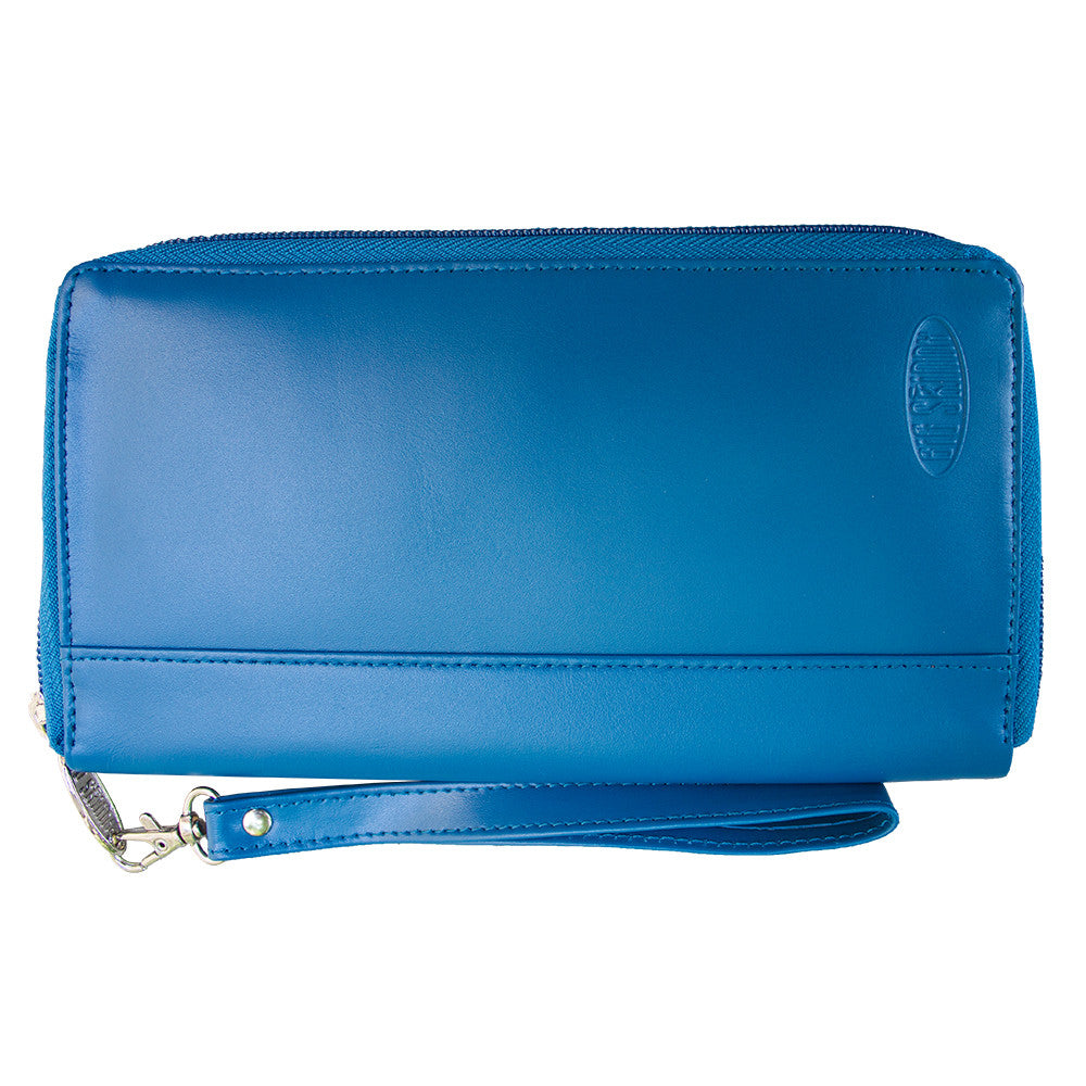 Leather Panther Clutch Ocean Blue