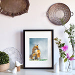 framed art fox print watercolor