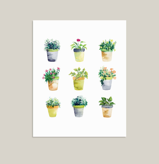 """Planted"" Floral Art Print on Retired Paper Stock"