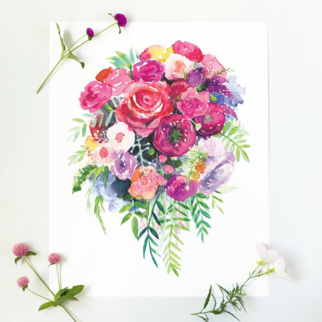 pretty flower art pink floral