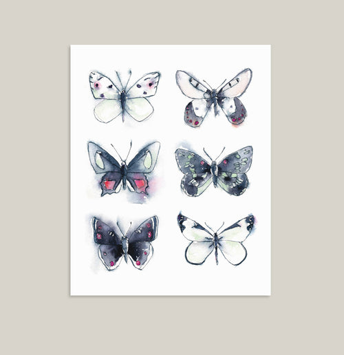 """ALL TOGETHER NOW"" Butterfly Watercolor Print"