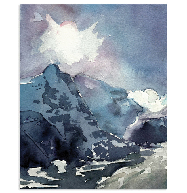 """AUSTRIAN BLUE"" Mountain Landscape Art Print"