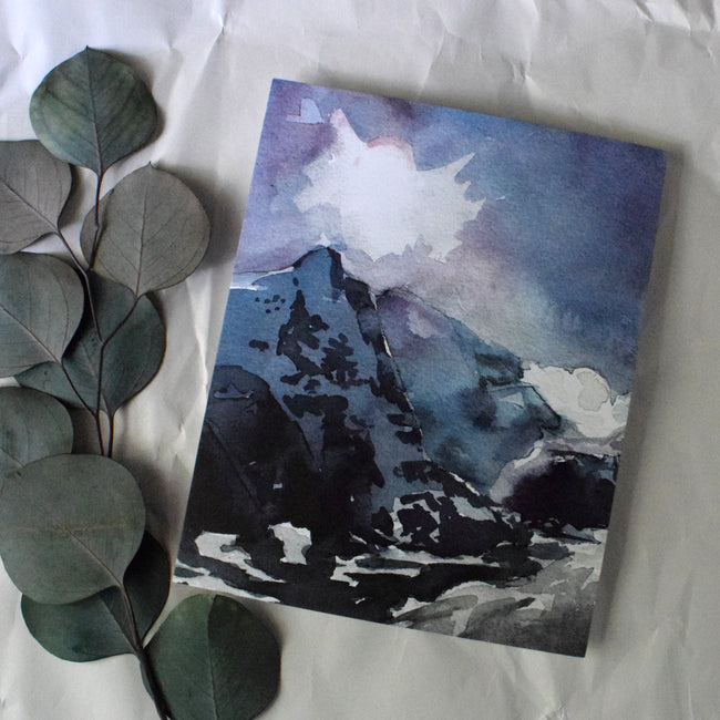 """AUSTRIAN BLUE"" Beautiful Mountain Watercolor Print"