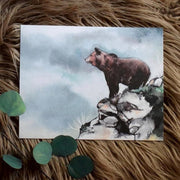 """Edge of Adventure"" Woodland Bear Art Print"
