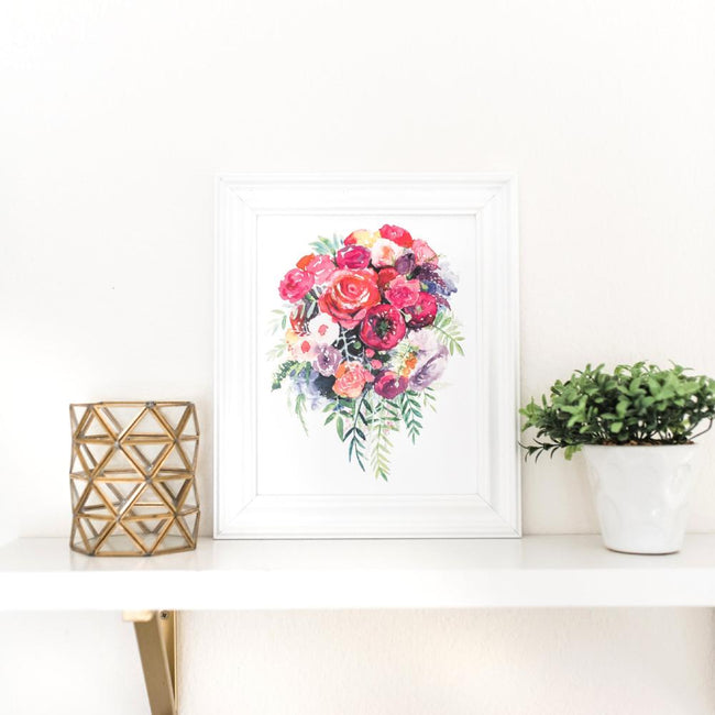 modern wall art pink flowers