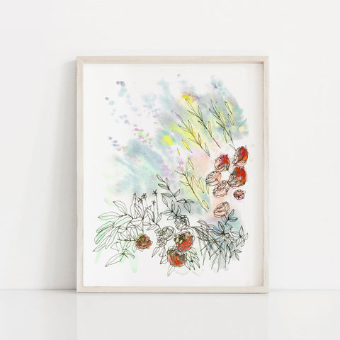 """Sun-drenched"" Floral Art Print"