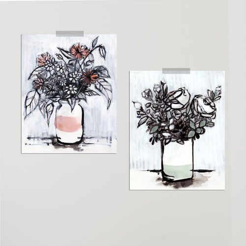 """Milk Jar Florals"" Set of Two Prints"