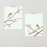"""Birds and Blooms"" Set of Two Prints"