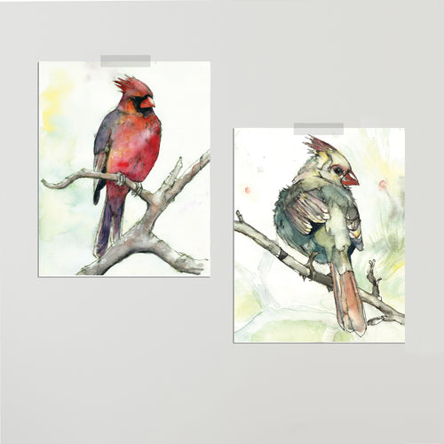 """Cardinals"" Set of Two Prints"