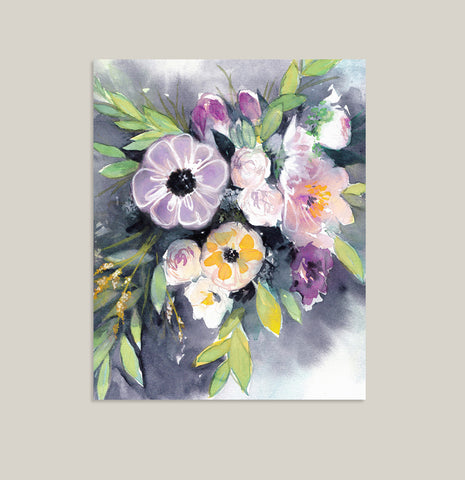Watercolor Bouquet of Flowers