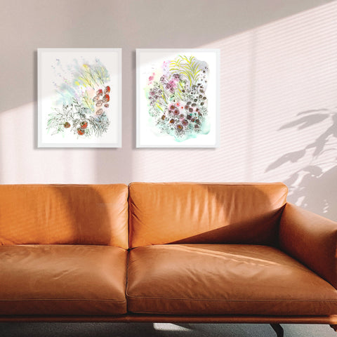 """Sun-drenched Symphony"" Set of Two Floral Art Prints"