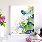 """Gracie's View"" Bird Floral Art Print"