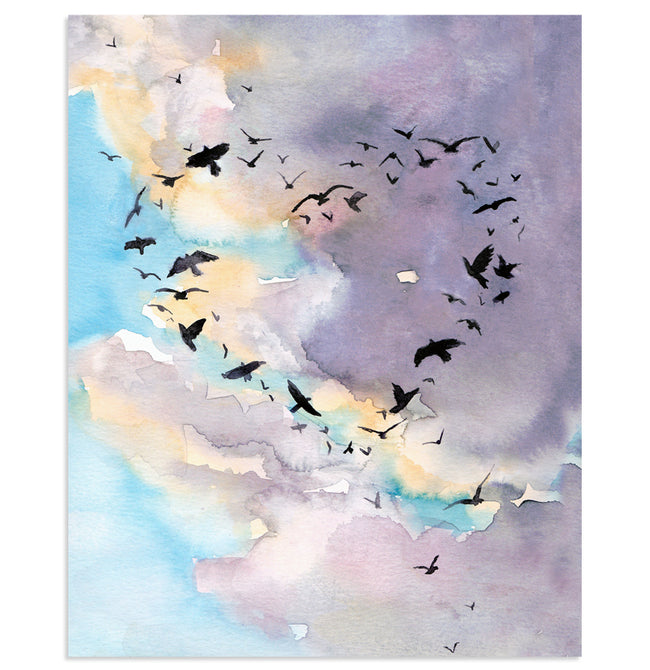 """Love is in the Air"" Birds and Sky Art Print"
