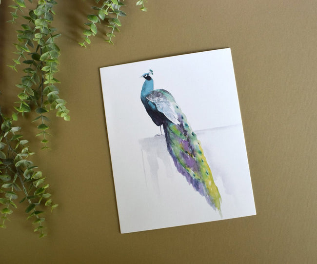 """ELEGANT REPOSE"" Peacock Art Print"