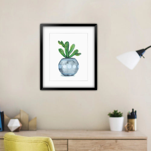"""Potted I"" Cactus Plant Art Print"