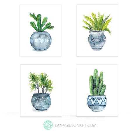 Potted Set - Moroccan Spice Collection - Set of 4 Art Prints in 2 Sizes
