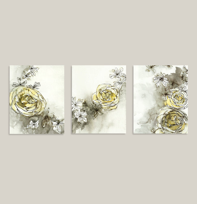 """Spring Roses"" Set of Three Prints"