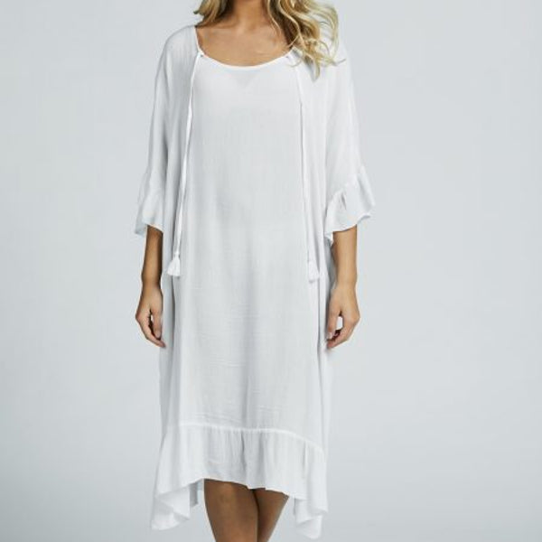 A809 - Lang tunika med knyting - White - The Nest Shop