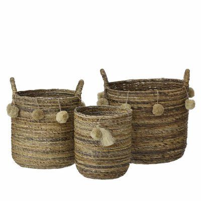 Banana Bark Round Basket