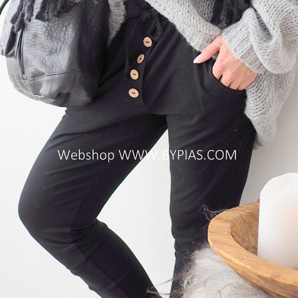ByPias - Bamboo Button Jogger - Black - The Nest Shop