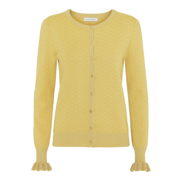 Continue - Claire Lurex Cardigan - Yellow