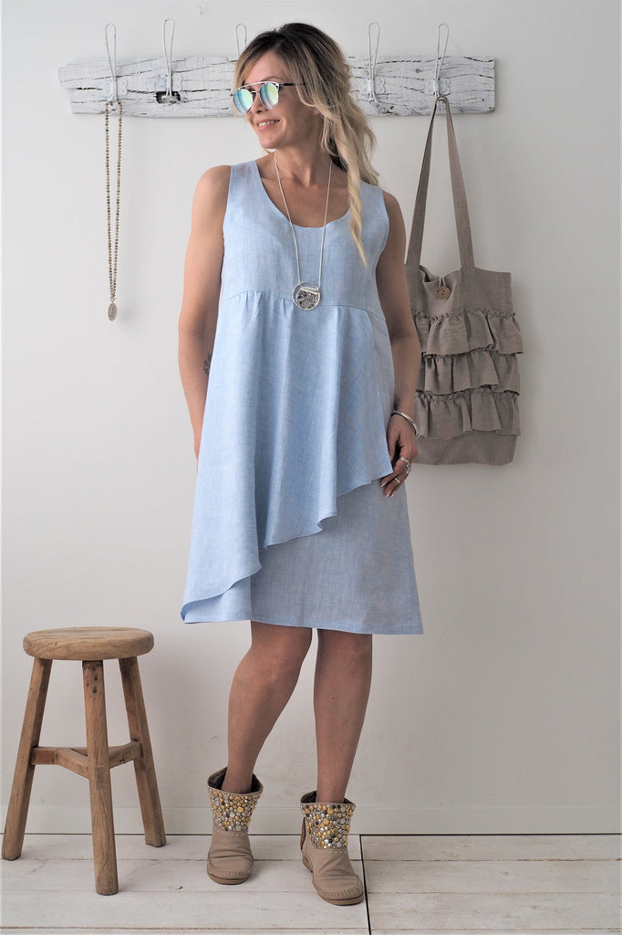 Bypias - Dream Linen Dress - Oxford Blue - The Nest Shop