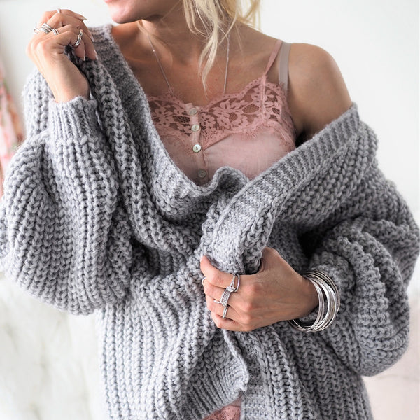 ByPias - Love Knit Cardigan - Grey - The Nest Shop